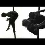 Composition noir et blanc de deux photos, Marie-Anne Michel au mât chinois