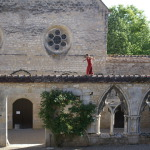 Traversée sur le muret du cloître de l'abbaye de Noirlac